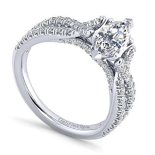 Alicia 14k White Gold Marquise  Twisted Engagement Ring angle 3