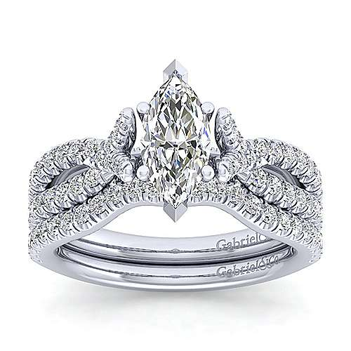 Alicia 14k White Gold Marquise  Twisted Engagement Ring angle 4