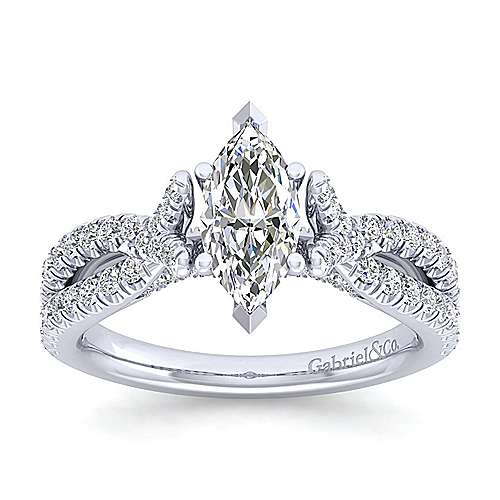 Alicia 14k White Gold Marquise  Twisted Engagement Ring angle 5
