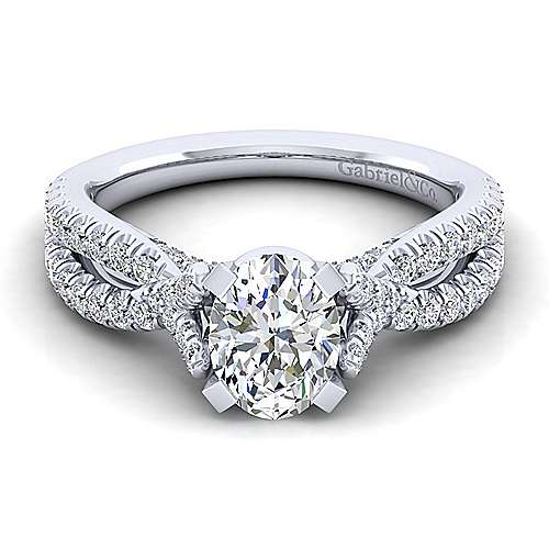 Alicia 14k White Gold Oval Twisted Engagement Ring angle 1