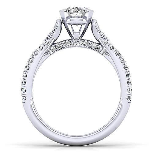 Alicia 14k White Gold Oval Twisted Engagement Ring angle 2
