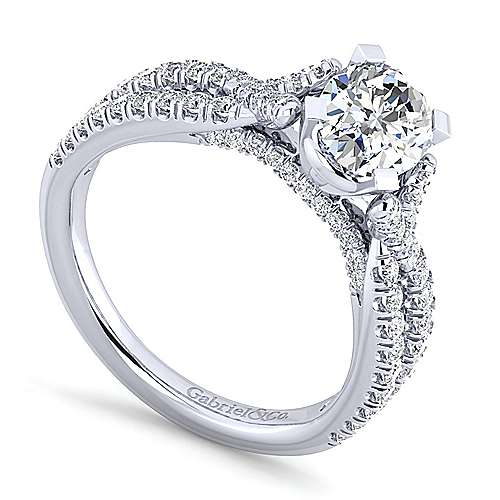 Alicia 14k White Gold Oval Twisted Engagement Ring angle 3