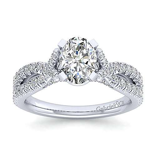 Alicia 14k White Gold Oval Twisted Engagement Ring angle 5