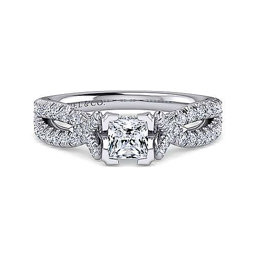 Alicia 14k White Gold Princess Cut Twisted Engagement Ring angle 1
