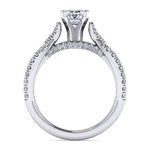 Alicia 14k White Gold Princess Cut Twisted Engagement Ring angle 2