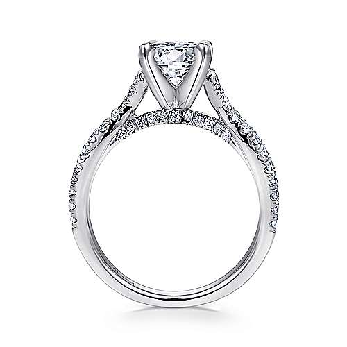 Alicia 14k White Gold Round Twisted Engagement Ring angle 2