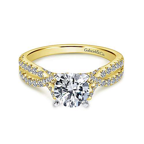 Alicia 14k Yellow And White Gold Round Twisted Engagement Ring angle 1