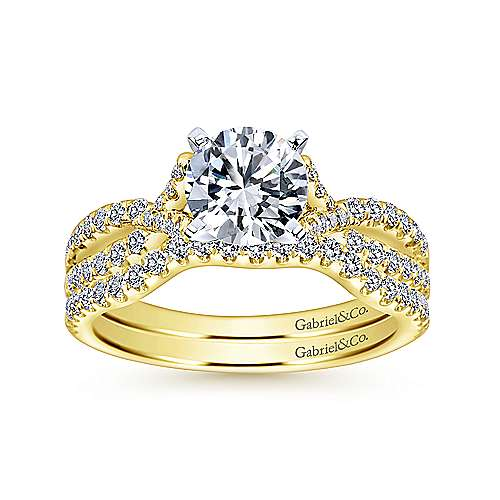 Alicia 14k Yellow And White Gold Round Twisted Engagement Ring angle 4
