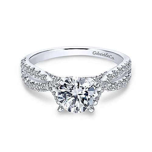 Gabriel - Alicia 18k White Gold Round Twisted Engagement Ring