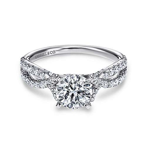 Gabriel - Alicia Platinum Round Twisted Engagement Ring