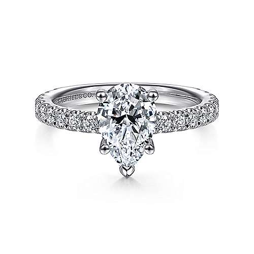 Alina 14k White Gold Pear Shape Straight Engagement Ring