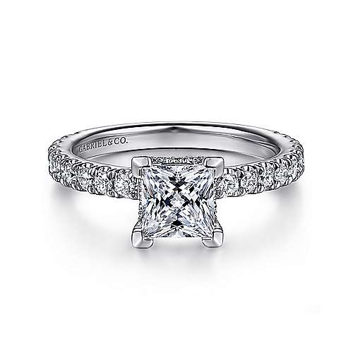 Alina 14k White Gold Princess Cut Straight Engagement Ring