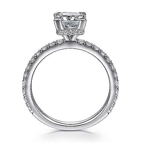 Alina 14k White Gold Princess Cut Straight Engagement Ring