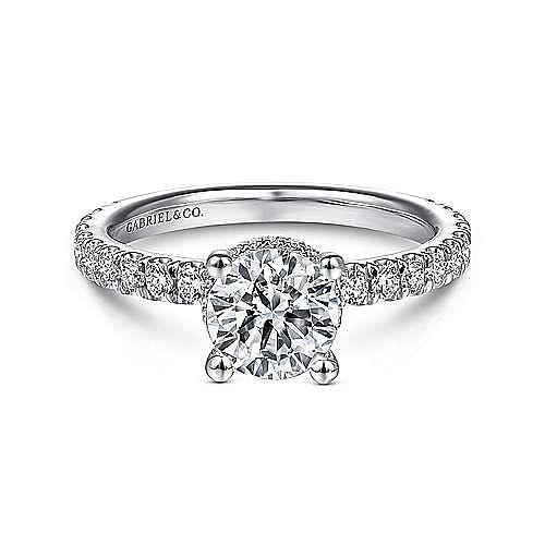 Gabriel - Alina 14k White Gold Round Straight Engagement Ring