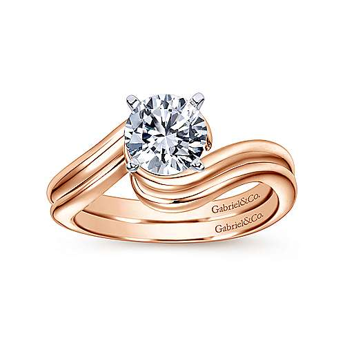 Alira 14k White And Rose Gold Round Bypass Engagement Ring angle 4