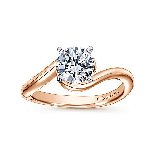 Alira 14k White And Rose Gold Round Bypass Engagement Ring angle 5