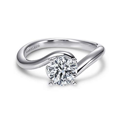 Gabriel - Alira 14k White Gold Round Bypass Engagement Ring