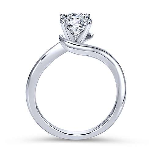 Alira 14k White Gold Round Bypass Engagement Ring angle 2