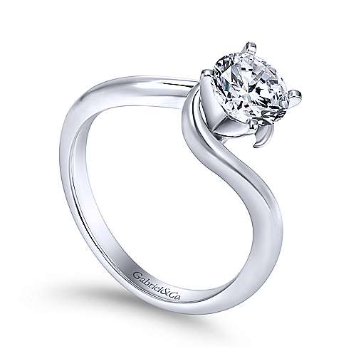 Alira 14k White Gold Round Bypass Engagement Ring angle 3