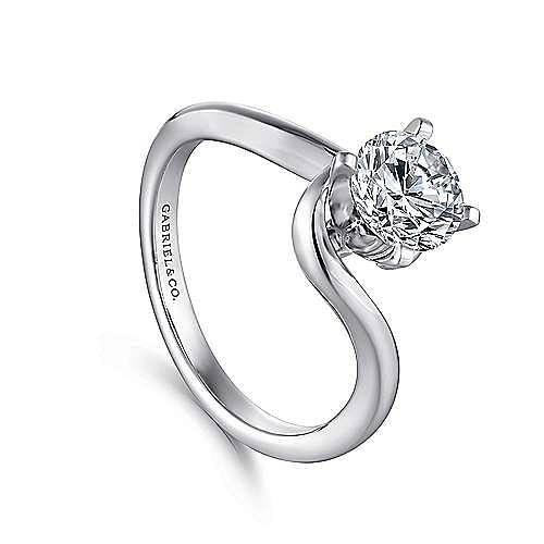Alira 14k White Gold Round Bypass Engagement Ring angle 3