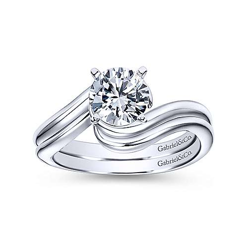 Alira 14k White Gold Round Bypass Engagement Ring angle 4