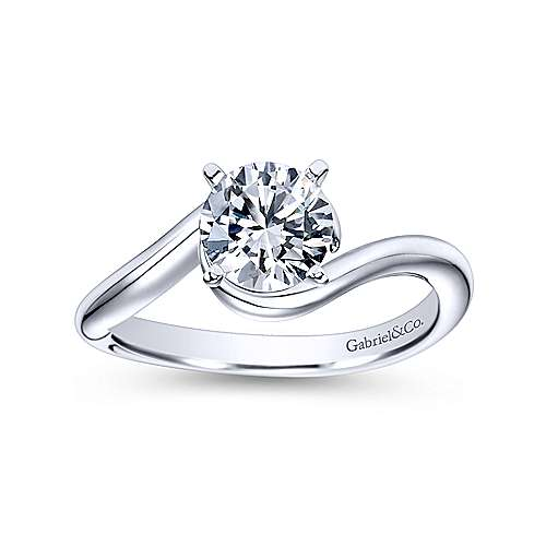 Alira 14k White Gold Round Bypass Engagement Ring angle 5
