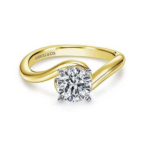 Alira 14k Yellow And White Gold Round Bypass Engagement Ring angle 1