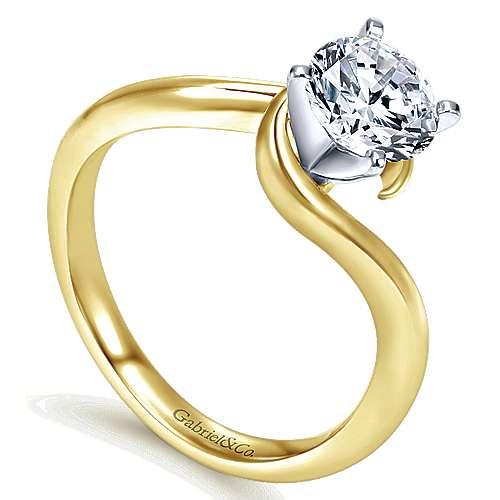 Alira 14k Yellow And White Gold Round Bypass Engagement Ring angle 3