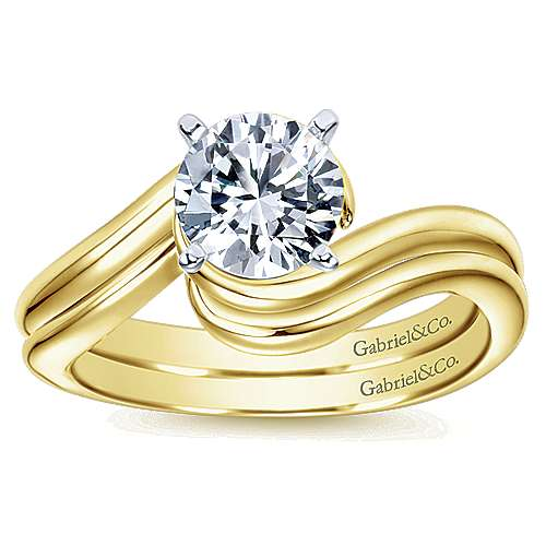 Alira 14k Yellow And White Gold Round Bypass Engagement Ring angle 4