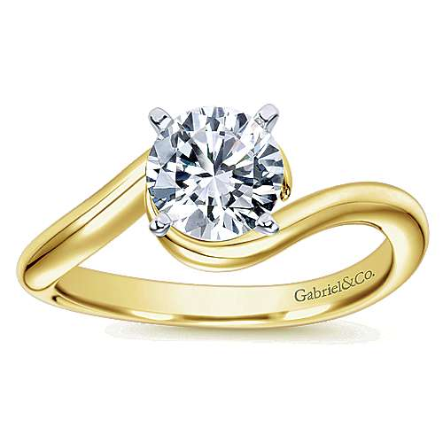 Alira 14k Yellow And White Gold Round Bypass Engagement Ring angle 5