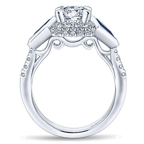 Allegra 14k White Gold Round 3 Stones Halo Engagement Ring angle 2