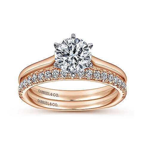 Allie 14k White And Rose Gold Round Solitaire Engagement Ring angle 4