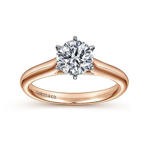 Allie 14k White And Rose Gold Round Solitaire Engagement Ring angle 5