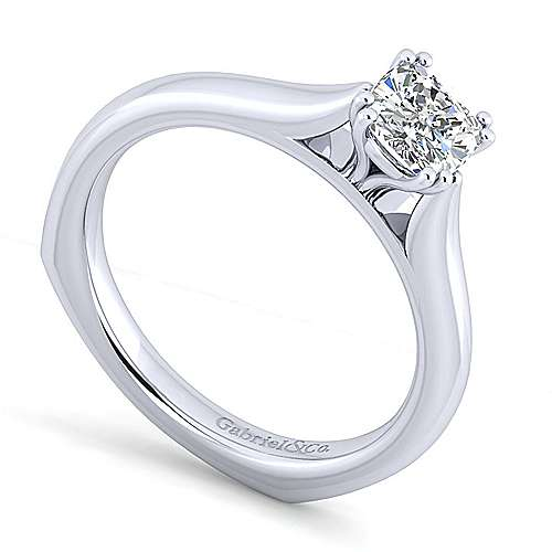Allie 14k White Gold Cushion Cut Solitaire Engagement Ring angle 3