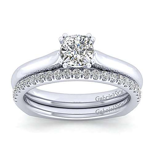 Allie 14k White Gold Cushion Cut Solitaire Engagement Ring angle 4