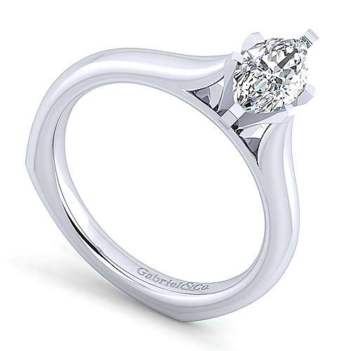 Allie 14k White Gold Marquise  Solitaire Engagement Ring angle 3