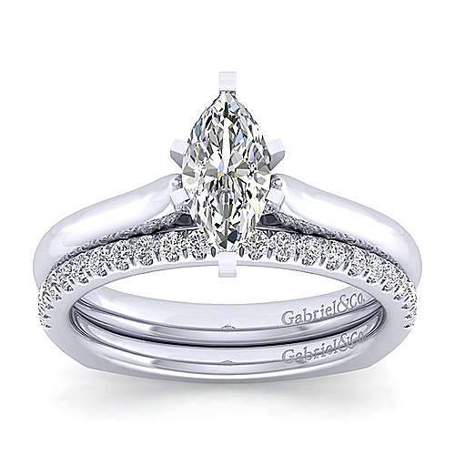 Allie 14k White Gold Marquise  Solitaire Engagement Ring angle 4