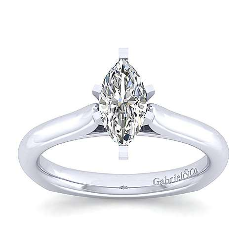 Allie 14k White Gold Marquise  Solitaire Engagement Ring angle 5
