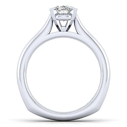 Allie 14k White Gold Oval Solitaire Engagement Ring angle 2