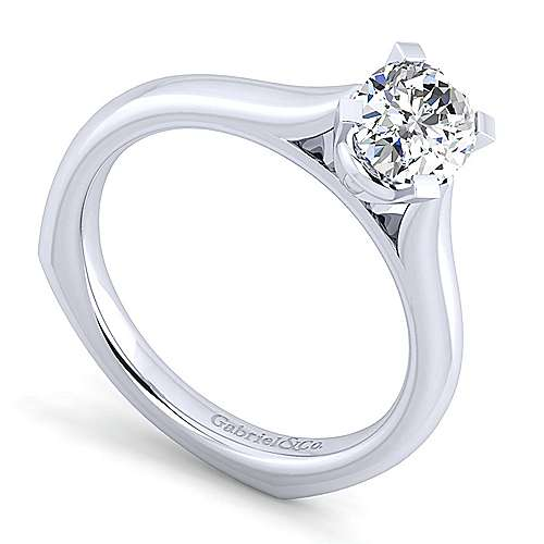 Allie 14k White Gold Oval Solitaire Engagement Ring angle 3