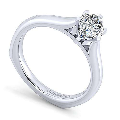 Allie 14k White Gold Pear Shape Solitaire Engagement Ring angle 3