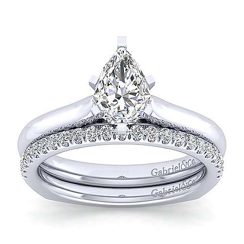 Allie 14k White Gold Pear Shape Solitaire Engagement Ring angle 4