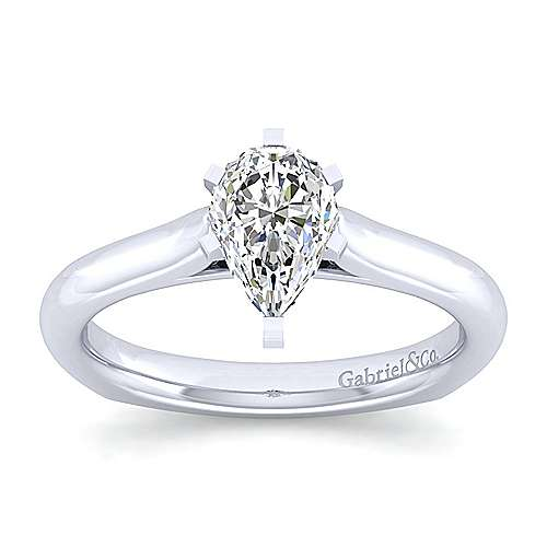 Allie 14k White Gold Pear Shape Solitaire Engagement Ring angle 5