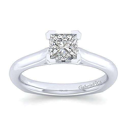 Allie 14k White Gold Princess Cut Solitaire Engagement Ring angle 5