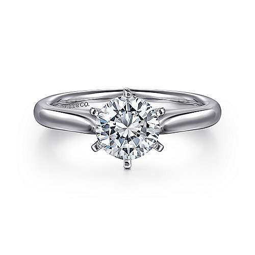 Gabriel - Allie 14k White Gold Round Solitaire Engagement Ring