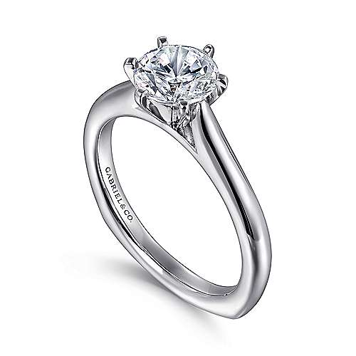 Allie 14k White Gold Round Solitaire Engagement Ring angle 3