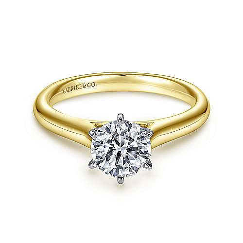 Allie 14k Yellow And White Gold Round Solitaire Engagement Ring angle 1