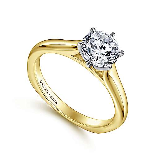 Allie 14k Yellow And White Gold Round Solitaire Engagement Ring angle 3