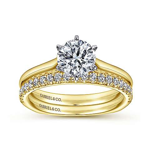 Allie 14k Yellow And White Gold Round Solitaire Engagement Ring angle 4
