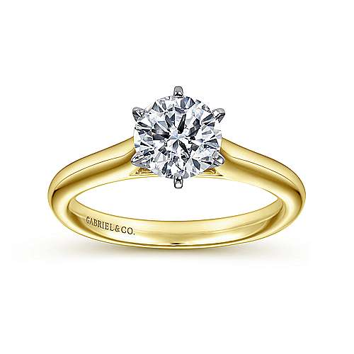 Allie 14k Yellow And White Gold Round Solitaire Engagement Ring angle 5